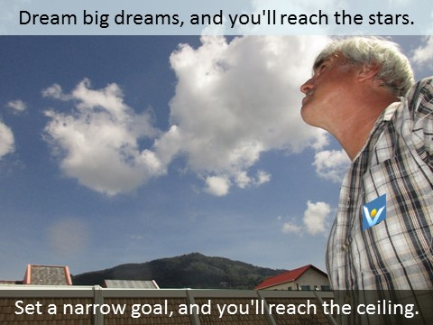 Vadim Kotelnikov quotes on self-leadership achievements: Set a narrow goal, and you'll reach the ceiling. Dream big dreams, and you'll reach the stars.